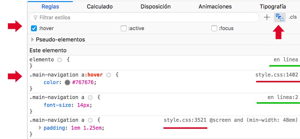 Sub pantalla del inspector HTML