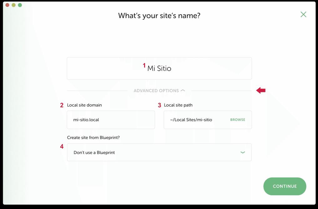 Datos nombre nuevo sitio