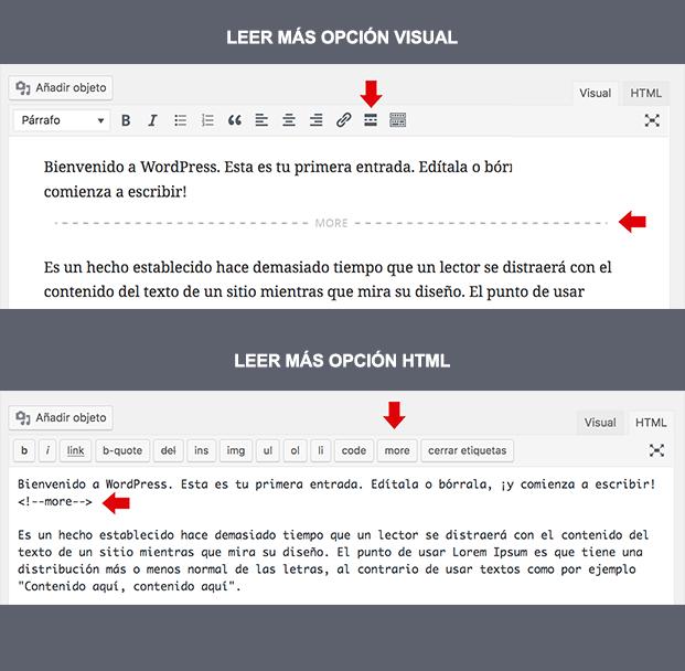 Inserción de leer más modo visual y modo código
