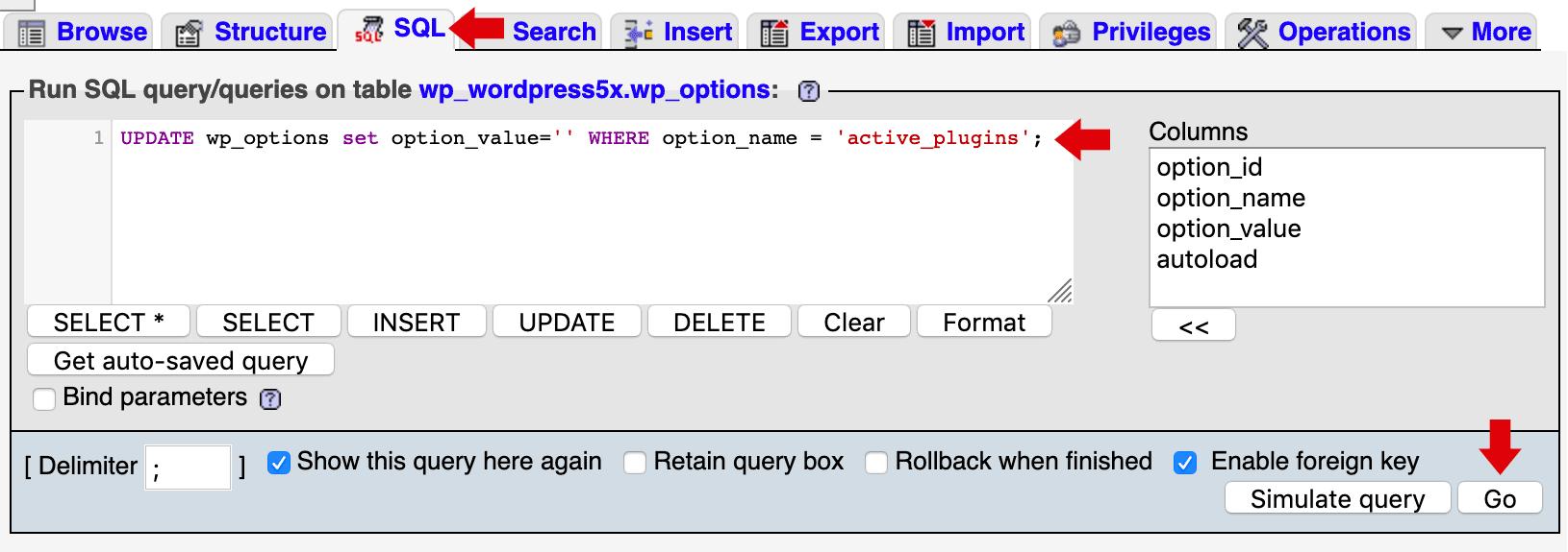 Desactivar plugins usando PHPMyAdmin y una sentencia SQL