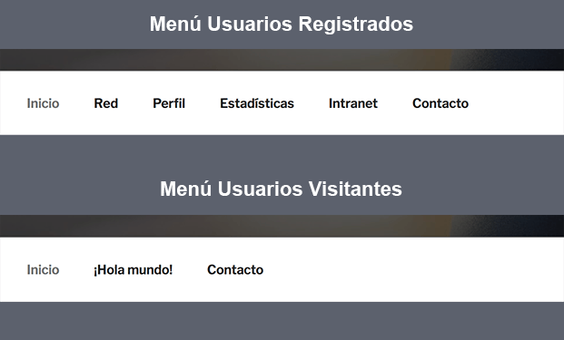 Resultado final menús visitante y registrado
