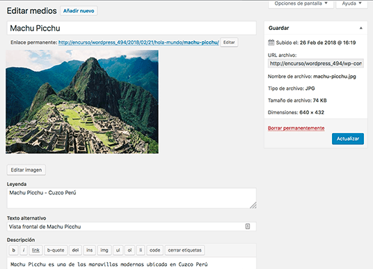 Pantalla de edición de página de adjunto de imagenes WordPress