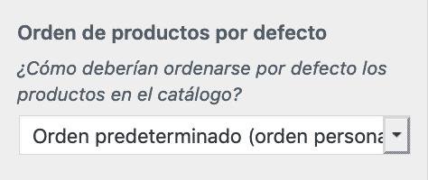 Establecer orden por defecto desde el Personalizador de theme en la opción WooCommerce