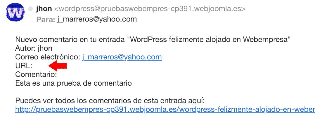 correo de notificación con campo url