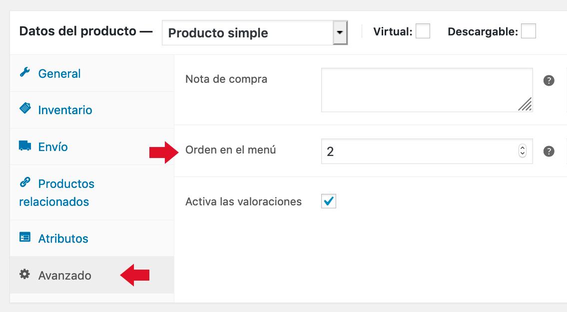 Pantalla para configurar orden personalizado