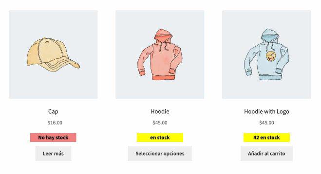 Mostrar stock lista productos resultado final