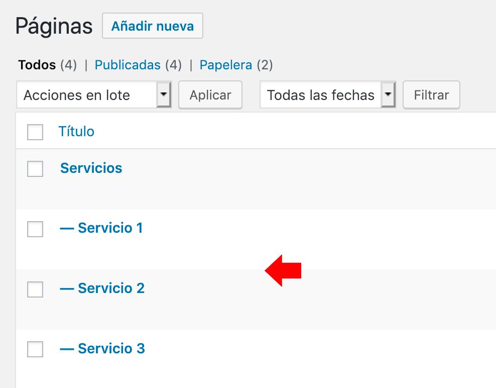 página de servicios de jemplo con sub páginas