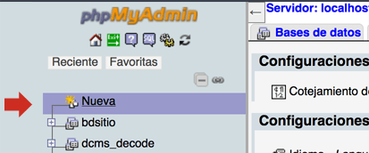 Crear base de datos PHPMyAdmin Local
