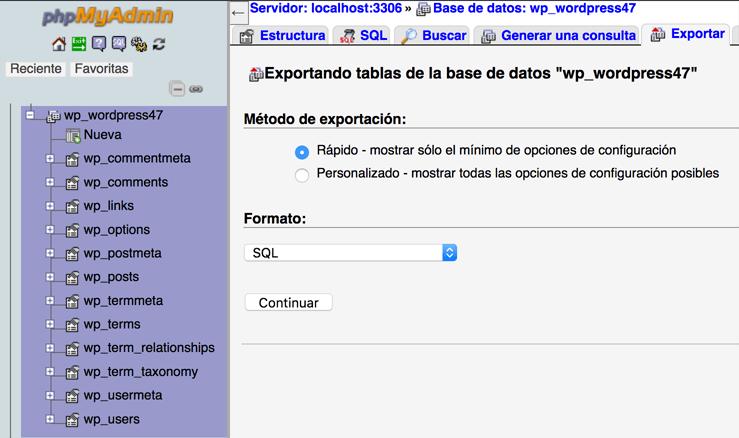 Exportando la base de datos