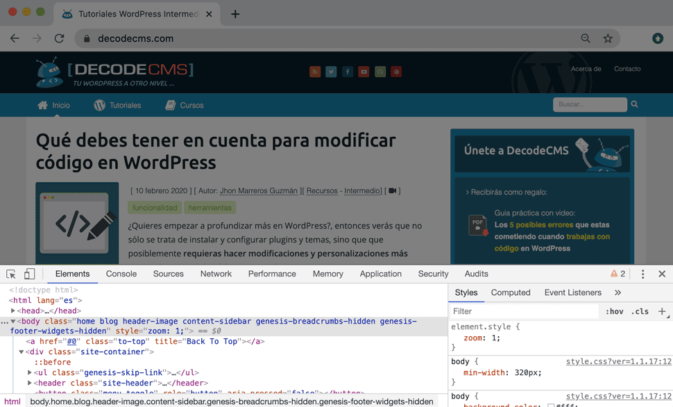 Mostrar inspecto de código del navegador