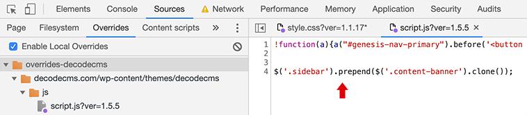 Overrides para agregar código javascript