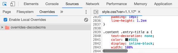 override archivo CSS en tab Sources