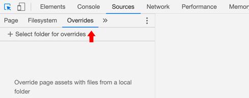 Selección de la opción de overrides en el tab sources
