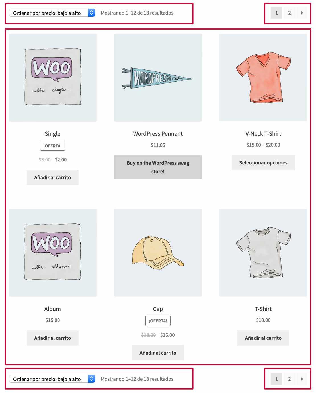 filtros paginacion y lista de productos del loop de WooCommerce