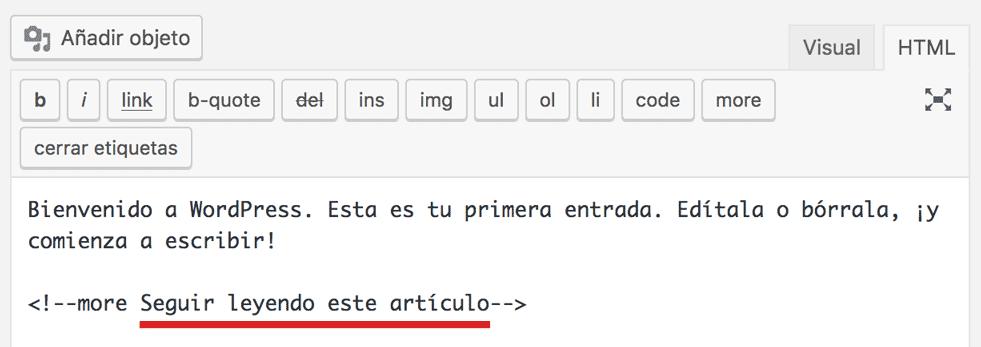 Vista HTML para cambiar texto de leer más