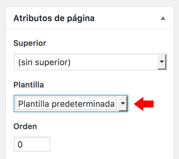 Widget de Atributos con la opción de plantillas de página