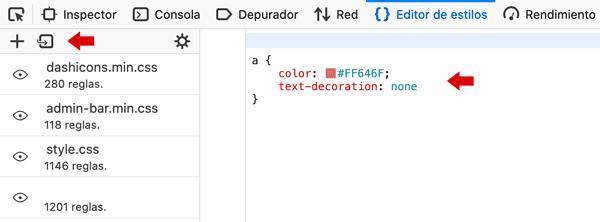 Firefox opción de editar CSS en inspector de código