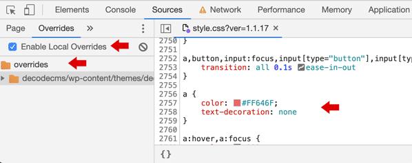 Google Chrome, opción de override para estilos CSS
