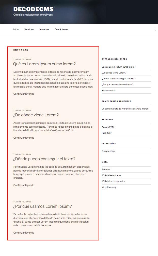 Lista de entradas en el Inicio