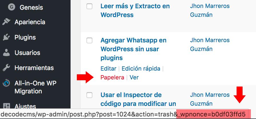 Nonce generado para una URL en WordPress