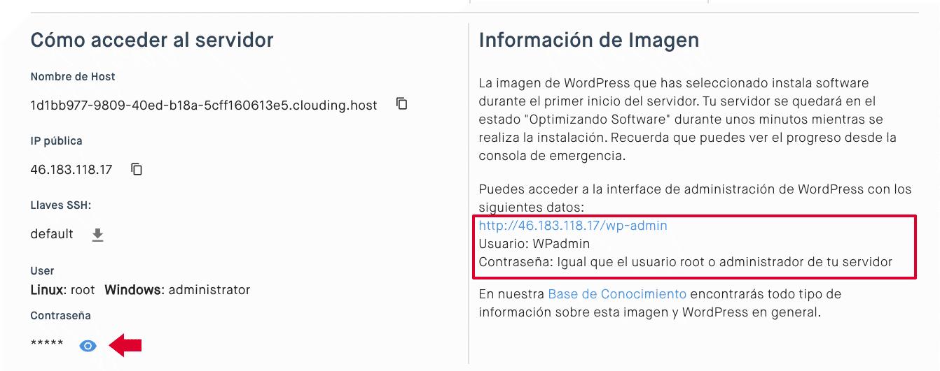 clave acceso WordPress