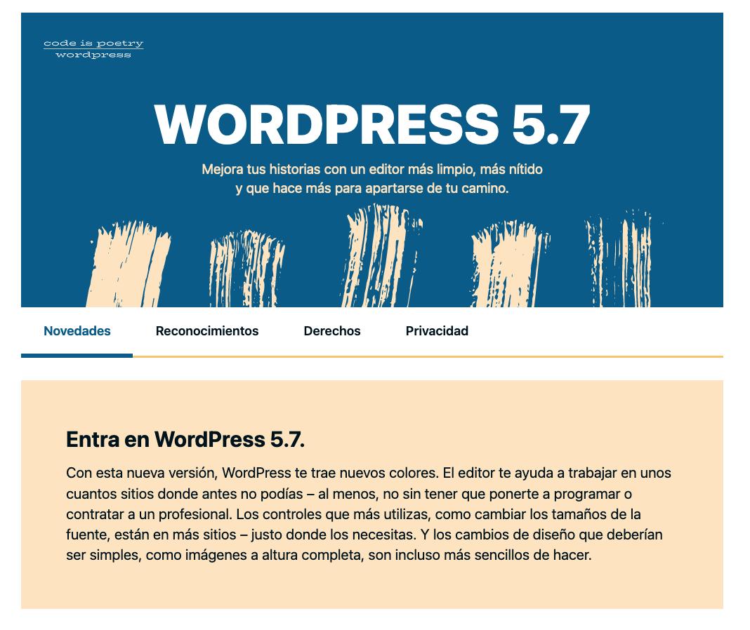 Finalización actualización WordPress