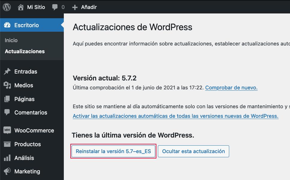 Actualización WordPress versión anterior