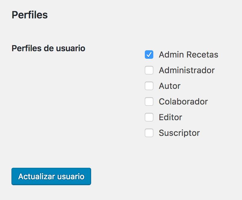 Pantalla de edición de usuario, asignar rol usuario