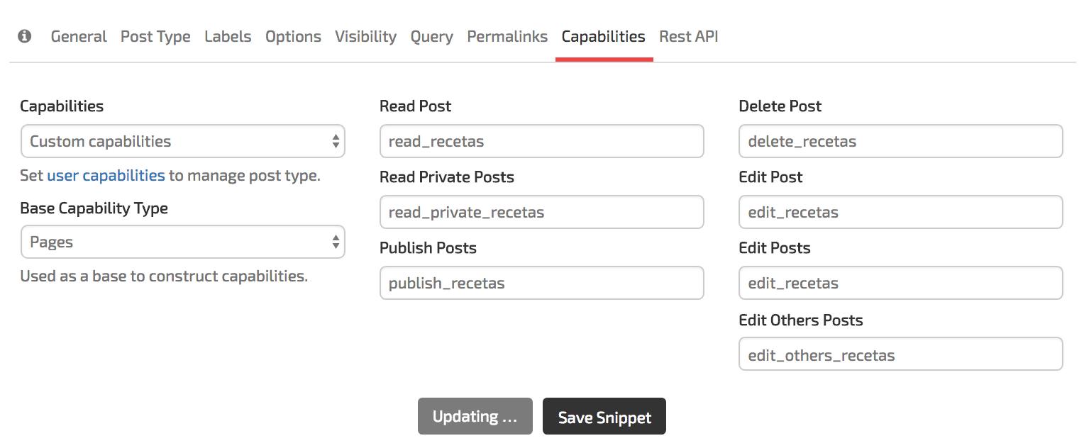 Sitio GenerateWP tab de Capabilities del CPT Recetas