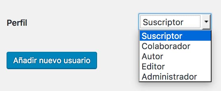 Pantalla de creación de usuario mostrando los roles por defecto