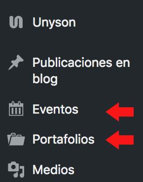 CPT de portafolio y eventos creado por theme