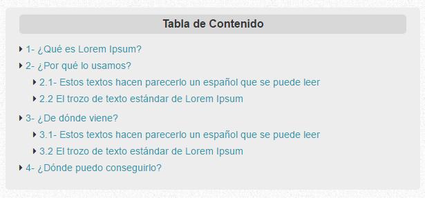 Ejemplo de Tabla de contenidos