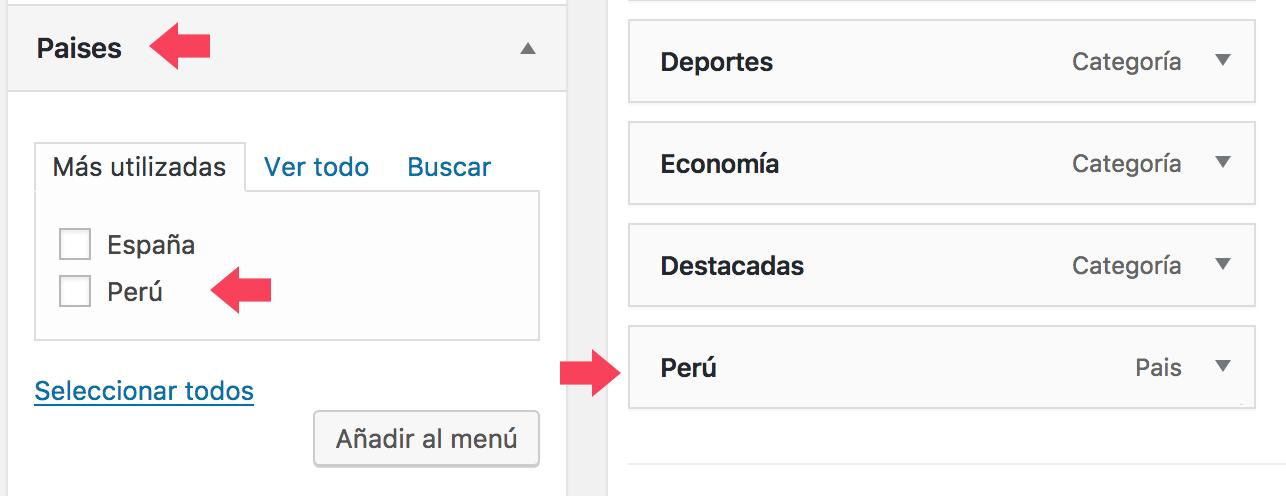 Pantalla para crear un ítem de menú en WordPress