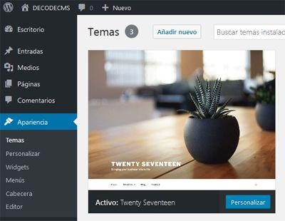 Configura el Tema Twenty Seventeen WordPress - DecodeCMS