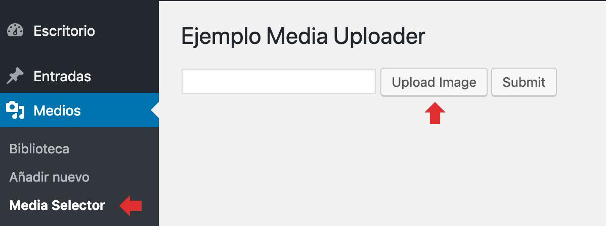 Construcción de formulario para usar Media Uploader