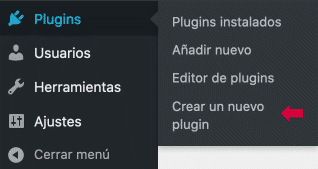 Crear un nuevo plugin opción menú