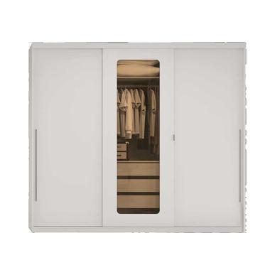 Guarda-roupa Casal 3 Portas de Correr 3 Gavetas H547 Branco - Kappesberg