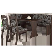Canto Alemão Tango Sala de Jantar e 2 Cadeiras Ameixa/Cobre - Mobilarte Móveis