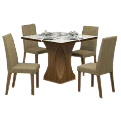 Mesa de Jantar 4 Lugares Frevo Com Vidro Branco 11556 Seda/Neve - Mobilarte Móveis