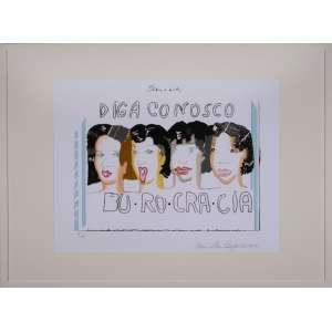 ANNA BELLA GEIGER - Serigrafia com intervenções em aquarela. Burocracia. Ano: 1975-2015. Ed. 7/30. Dimensões: 70 x 100cm. Ass e datado inf. direito.