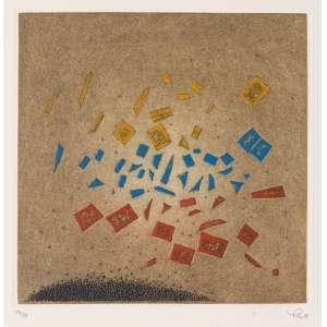 ARTHUR LUIZ PIZA - Gravura em metal Petit Cataclysme. Ed. 59/99. MI 22,5 x 22 cm - ME 50 x 39,5 cm. Ass. inf. dir.e com marca d'água do impressor La Hune – Paris inf. esq. (1988). Cataogada sob o n. 39 do livro Piza – catalogue general de l'oeuvre gravé, de K. Masrour (França: Art Moderne International, 1981)