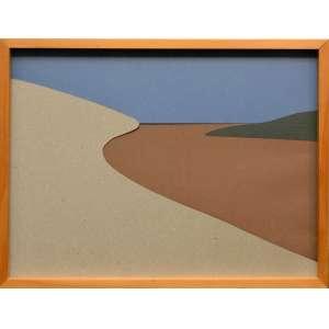 FELIPE COHEN - Série 'Paisagens. Colagem com diferentes papéis. Tamanho: 20 x 30 cm. Ano: 2008. Com moldura.