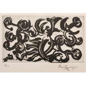 IBERÊ CAMARGO - Gravura em metal. 'Composição Abstrata'. Ano: 1963. Ed. 3/110. ME: 50 x 65 cm. MI: 20 x 34 cm. Reproduzida do Catálogo Raisonné do artista sob o cod. CR-107/G-103 em página dupla, 238 e 239. Com moldura.