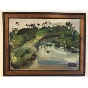 JOSÉ CLÁUDIO - Óleo sobre eucatex. Ano: 1972. Título: 'O Rio Doce'. 44 x 60 cm. Com moldura. Esta obra encontra-se em Recife.