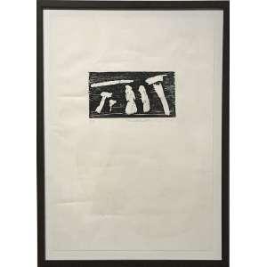 ANNA MARIA MAIOLINO - Xilogravura. Edição de 20 exemplares, este uma P.A. Ano: 1966. ME: 48 x 33 cm. MI: 10 x 18 cm. Ass. datado inf. dir. da impressão. Com moldura.