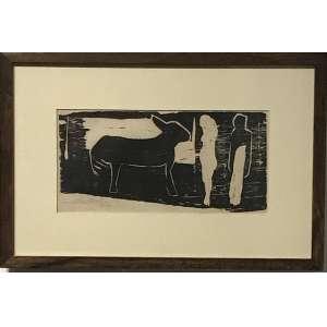 ANNA MARIA MAIOLINO - Xilogravura. Edição de 20 exemplares, este uma P.A. Ano: 1963. Medida com moldura: 27 x 40 cm. MI: 13 x 26 cm. Ass. datado inf. esq. Com moldura.