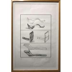 REGINA SILVEIRA - Litografia. A arte de desenhar. Ano: 1980. Ed. limitada 2/10. MI: 63 x 41 cm. Com Moldura: 70,5 x 48,5 cm. Ass. datado inf, dir.
