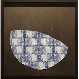 LOURIVAL CUQUINHA - Azul nacional. Reproduções de cédulças, moedas e imâs - edição de 50. MI: 60x60cm (65x65cm com moldura). Acompanha certificado de autenticidade.
