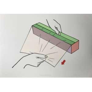 GUTO LACAZ - Serigrafia 70 x 100 cm da série Pequenas grandes ações. Ano: 2003. Ed. 27/50. Ass. inf. dir. Sem moldura.