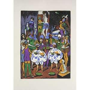 CARYBÉ - Xilogravura. Ed. 34/65, de 1974, do álbum 'Das Visitações na Bahia'. Editora Onile. Tamanho: 70 x 50 cm. recentemente limpa e higienizada. Ass. inf. dir. Sem moldura.